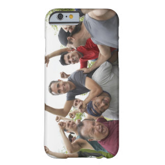 Man raising soccer ball celebrating with friends barely there iPhone 6 case