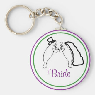 Manatee Bride and Groom Keychain - Bride