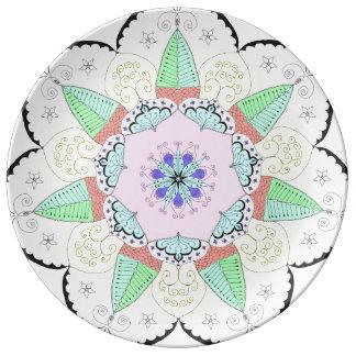 Mandala Art Patterns Designs Flower Floral Yoga om Plate