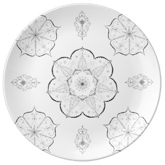 Mandala Art Patterns Floral black white yoga Plate