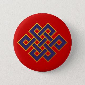 Mandala  Blue Karma Buddhism Eternal Knot 6 Cm Round Badge