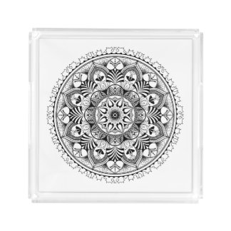 Mandala Circle Acrylic Tray