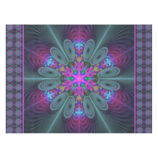 Mandala From Center Colorful Fractal Art With Pink Tablecloth