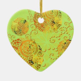 Mandala in lime green christmas ornament