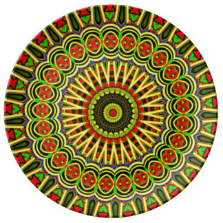Mandala meditation decorative porcelain plate