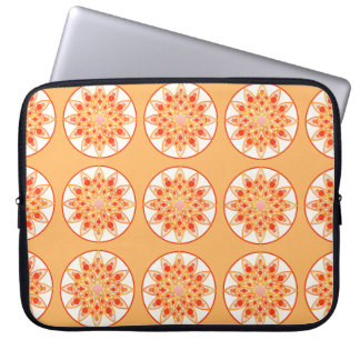 Mandala pattern in coral, orange and gold laptop sleeves