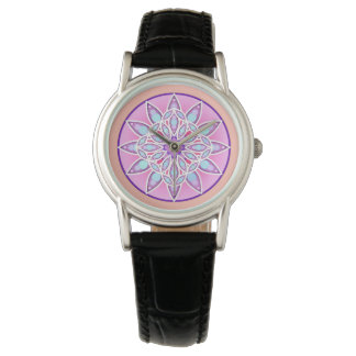 Mandala pattern in lavender, orchid and coral watches