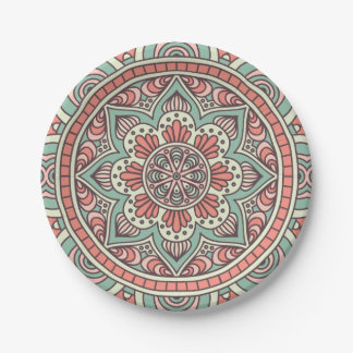 Mandala Pattern In Mint and Coral   Paper Plate