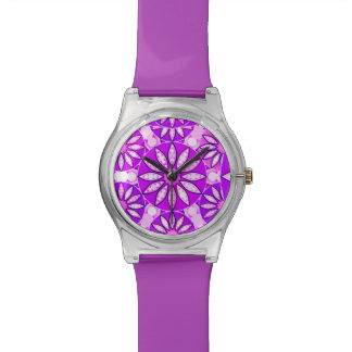 Mandala pattern, violet, orchid and pink watch