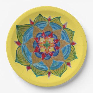 Mandala  Yellow Gold colofrul Zen  Paper Plates