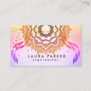 Mandala yoga teacher business cards zazzle nz mandala yoga teacher meditation holistic massage business card reheart Images