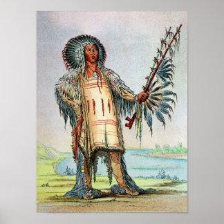 Mandan Indian Ha-Na-Tah-Muah, Wolf chief Print