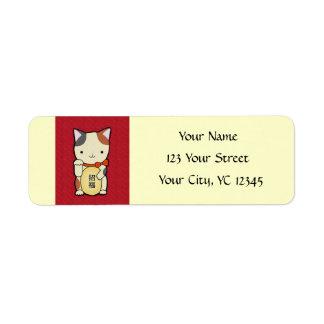 Maneki neko Good Luck Cat Lucky Cat Letter Label Return Address Label
