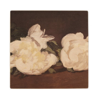 Manet | Branch of White Peonies and Secateurs Maple Wood Coaster