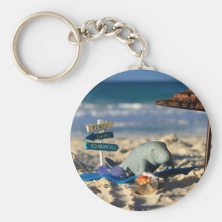 Manfred the Manatee at the Beach Key Ring