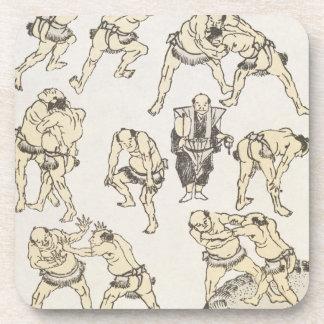 Manga: studies of gestures and postures of wrestle drink coaster