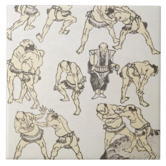 Manga: studies of gestures and postures of wrestle large square tile