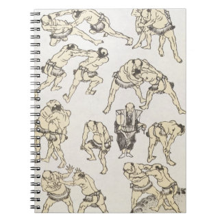 Manga: studies of gestures and postures of wrestle spiral notebook