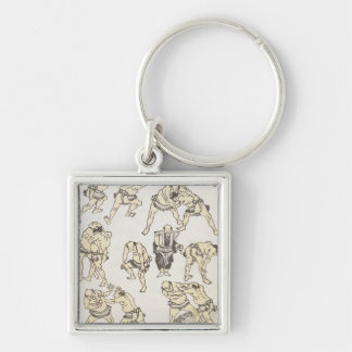 Manga: studies of gestures and postures of wrestle Silver-Colored square key ring