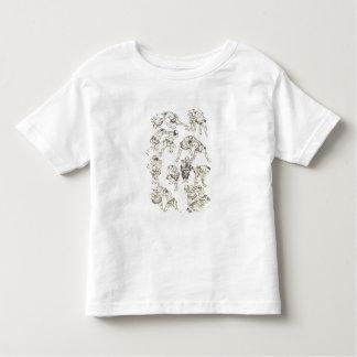 Manga: studies of gestures and postures of wrestle tee shirt