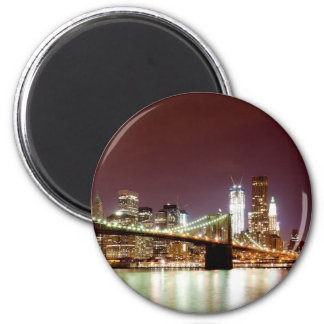 Manhattan night view over Brooklyn Bridge Magnet