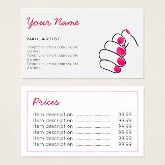 Manicurist Price Business Cards
