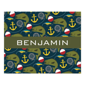 Manly Fisherman Pattern with Custom Name 11.5 Cm X 14 Cm Flyer
