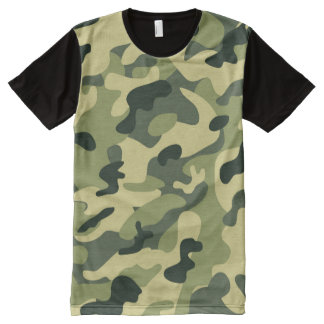 Manly Green Camouflage Camo Military Pattern All-Over Print T-Shirt