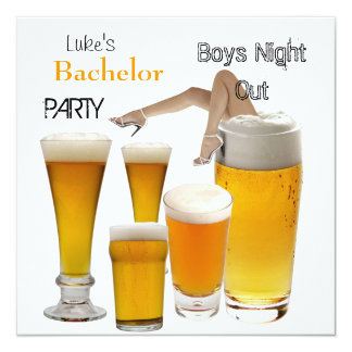 Mans Bachelor Party Beer Boys Night Legs 13 Cm X 13 Cm Square Invitation Card