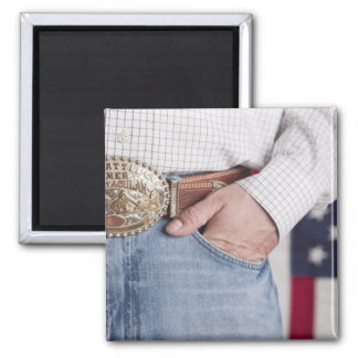 Man's hand in the pocket of his jeans fridge magnet