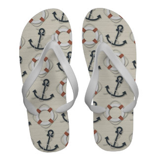 Mans Life Rings and Anchor Nautical Flip Flops