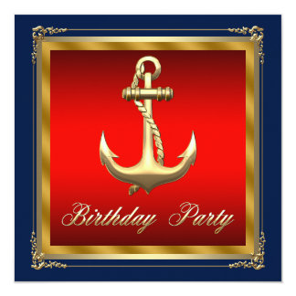 Mans Nautical Birthday Party 13 Cm X 13 Cm Square Invitation Card