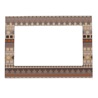 Man's Tribal Aztec Stripes Brown and Beige Pattern Magnetic Picture Frame