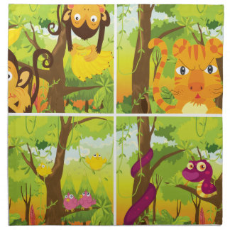 Many animals living in the jungle napkin