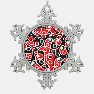 Maori Kowhaiwhai Layered Pattern Snowflake Pewter Christmas Ornament