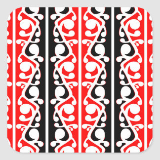Maori Kowhaiwhai Traditional Pattern Square Sticker