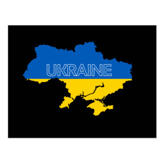 Map and Flag of Ukraine Postcard