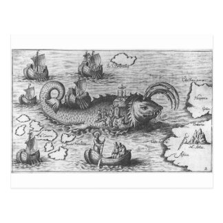 Map Monster Sea Serpent Post Cards