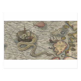 Map Monster/Sea Serpent Postcard