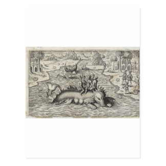 Map Monster Sea Serpent Postcard