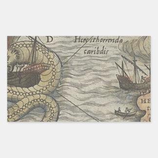 Map Monster/Sea Serpent Rectangular Sticker