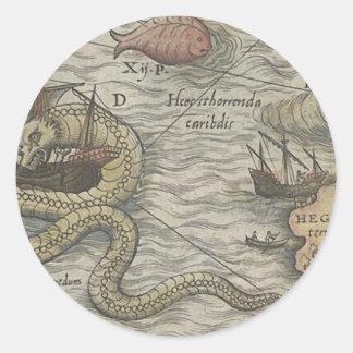 Map Monster/Sea Serpent Round Sticker