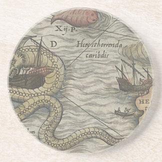 Map Monster/Sea Serpent Sandstone Coaster