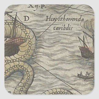 Map Monster/Sea Serpent Square Sticker