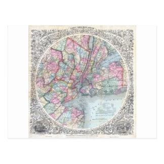 Map  New York City Postcard