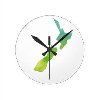 Map New Zealand Round Clock