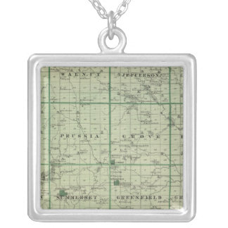 Map of Adair County, State of Iowa Silver Plated Necklace