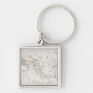 Map of Alexander the Greats Empire Silver-Colored Square Key Ring
