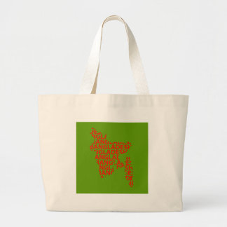 Map of Bangladesh with text inside Large Tote Bag