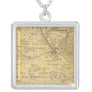 Map of Benton County, State of Iowa Silver Plated Necklace